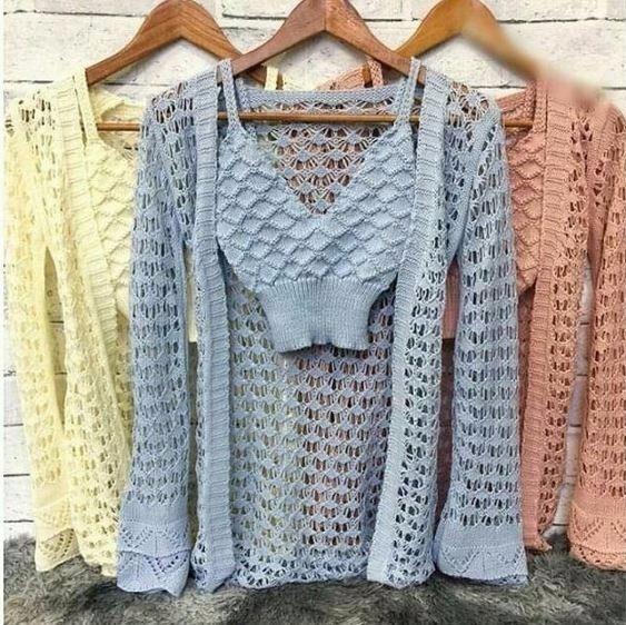 Conjunto Cropped + Cardigam Crochê Moda Blogueira Instagram