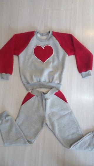 Conjunto Infantil Coração/pérolas