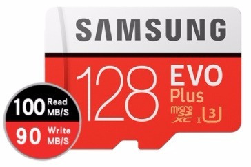Cartão Samsung Micro Sdx Evo Plus 128gb 100mb/s Uhs U3 Gopro