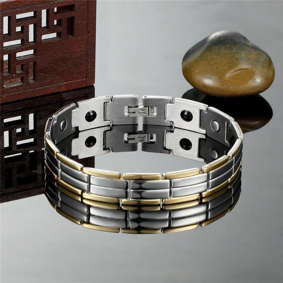 Linha Luxo Hoss - Pulseira Terapêutica Magnética Prata