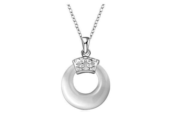 Colar Feminino Prata 46cm Pingente Pedra Opalita - J2507