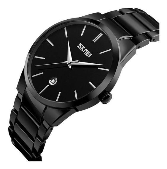 Reloj Hombre Caballero Elegante Skmei 9140 A. Inox + Estuche