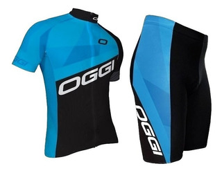 Conjunto Ciclismo Bike Oggi Hacker Preto Azul Camisa Bermuda