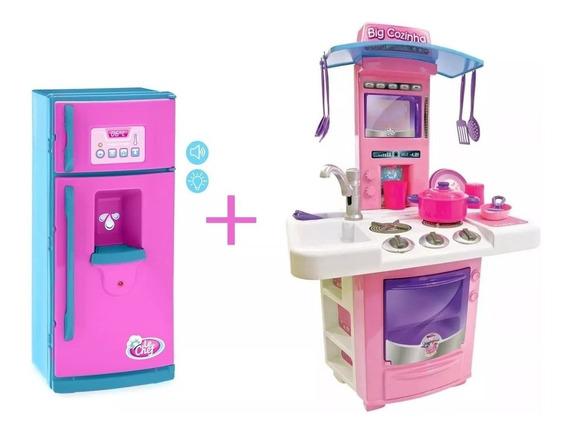 Nova Big Cozinha Infantil + Geladeira Linda Rosa Menina