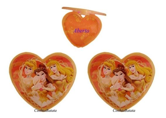 3 Caixa Porta Joias Coração Em Plastico Das Princesas Disney