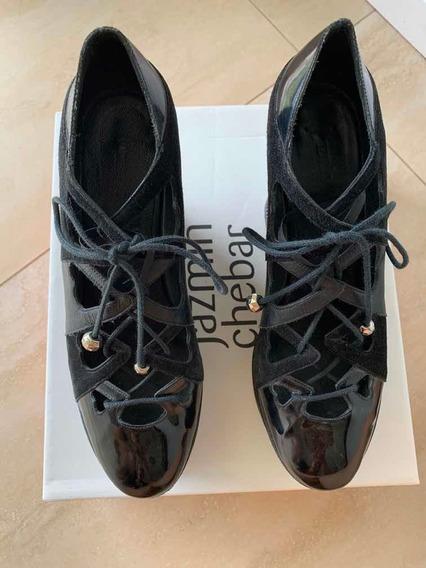 Zapatos Jazmín Chebar Negros De Cuero Envíos Viernes