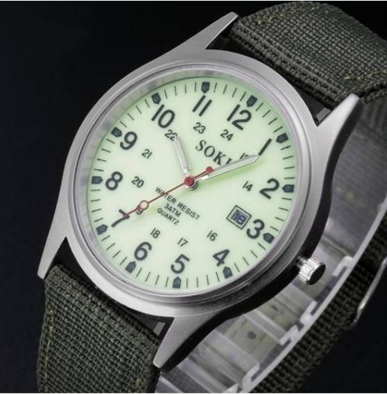 Relógio Tipo Militar Verde Exercito Para Homens E Crianças