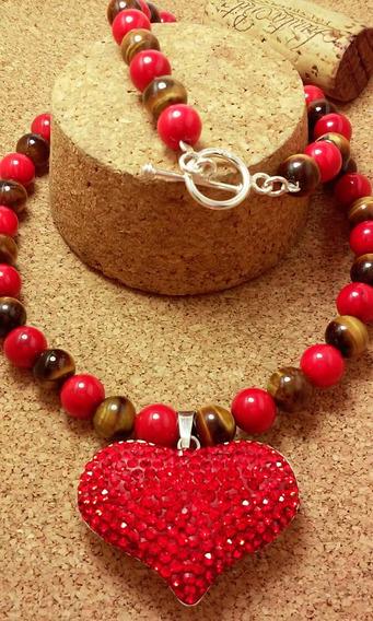 Elegante Collar En Plata Fina Ley .925 Coral Y Ojo De Tigre
