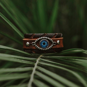 Pulseira Bracelete Couro Masculino Olho Grego