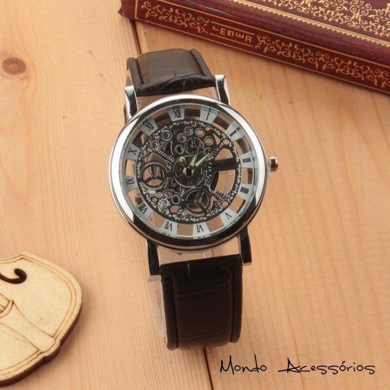Relógio Pulso Retro Vintage Masculino Unissex Couro Geneva