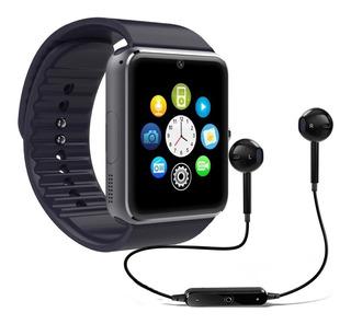 Relógio De Pulso Smartwatch Gt08 Bluetooth Touch Câmera Android Celular Chip Sim Chamadas Passômetro Sono + Fone Ouvido