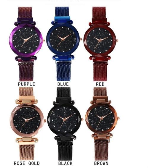 Relógio Feminino Estrelado Elegante Pulseira Magnética