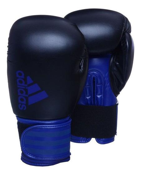 Kit Luva Boxe Hybrid 100 Preto E Azul 16 Oz adidas