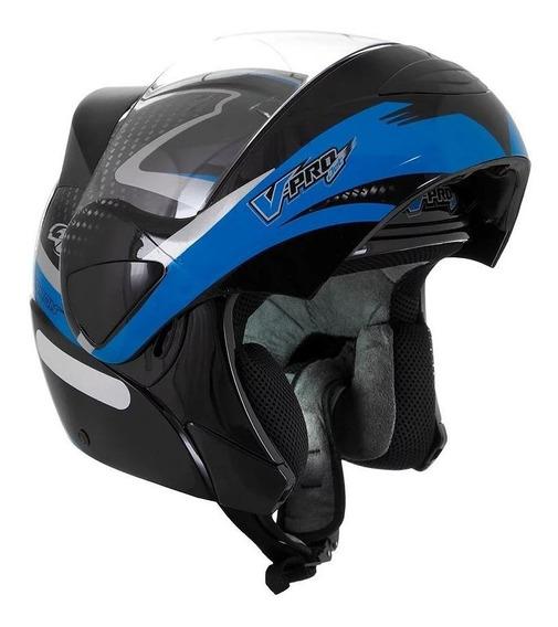 Capacete para moto escamoteável Pro Tork V-Pro Jet 2 Carbon preto, azul tamanho 58