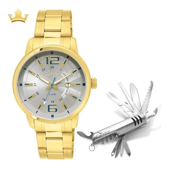 Relógio Condor Masculino Dourado + Canivete, Original + Nf