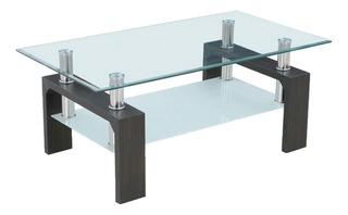 Mesa De Centro Sala Rectangular Cristal, Con 2 Niveles