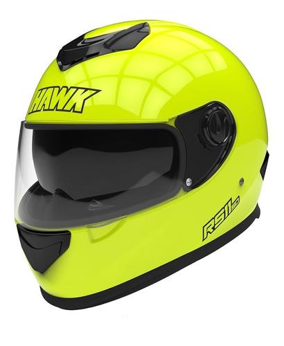 Casco para moto integral Hawk RS11  amarillo fluo talle XL