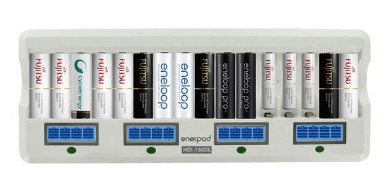 Carregador Enerpad Lcd Smart Quick P/ 16 Pilhas Aa/aaa