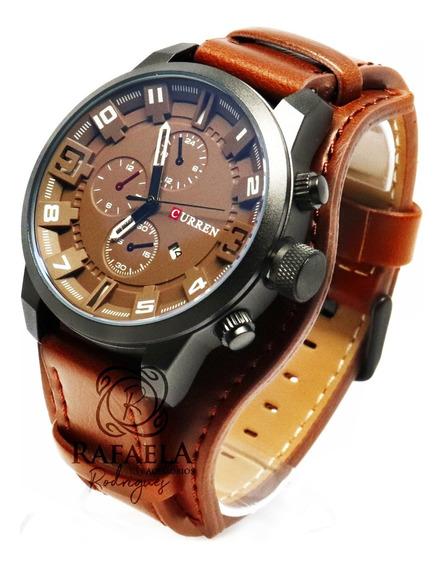 Relógio Masculino Original Couro Casual Luxo Com Garantia