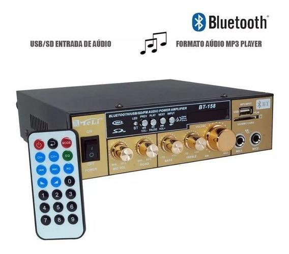 Mini Amplificador De Som Bluetooth 2 Canais + Rca E Equaliza