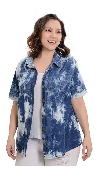 Camisa Portofem De Jean Entallada Manga Corta.talles Grandes