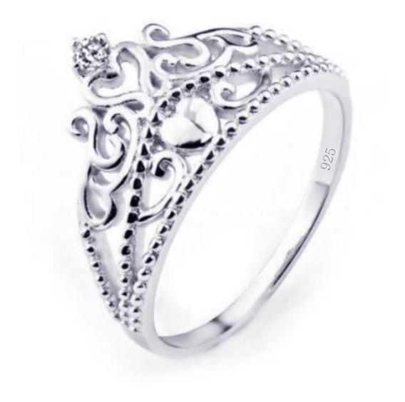 Anel Pura Prata 925 Tiara Princesa 1 Zirconia - Exclusivo - Compre Joias Direto Da Fábrica E Economize Dinheiro