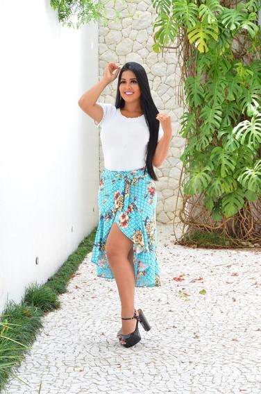 Saia Shorts Estampada Florido Moda Verão 2020