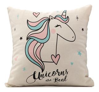 Almohadón C/relleno Estampado Diseño Unicornio Mandala