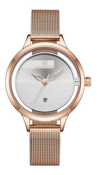 Relógio De Pulso Feminino 5014 Elegante Em Aço Inoxidável Br