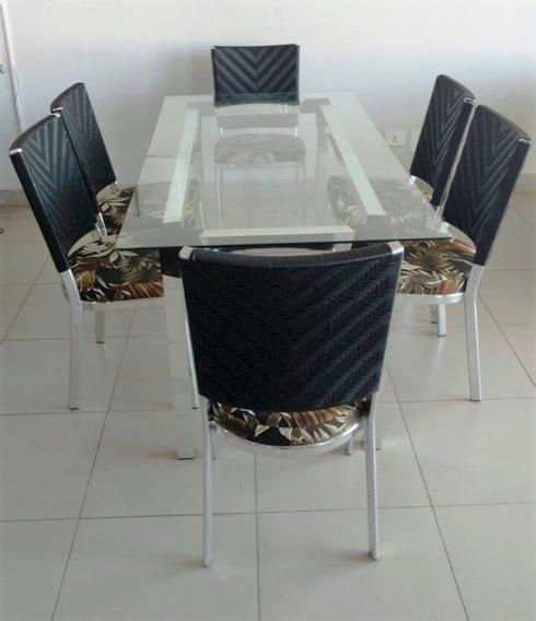 Jogo De Mesa Com 6 Cadeiras Em Alumínio ( Vidro Não Incluso)