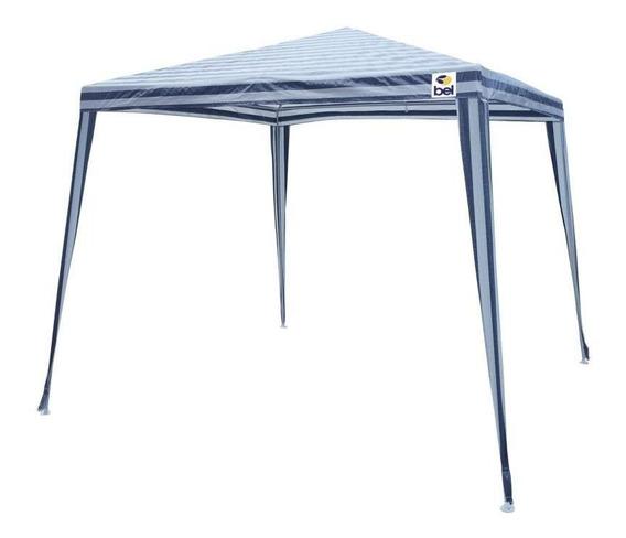 Tenda Gazebo 3 X 3 Poli Listrado Azul/branco - Bel Lazer