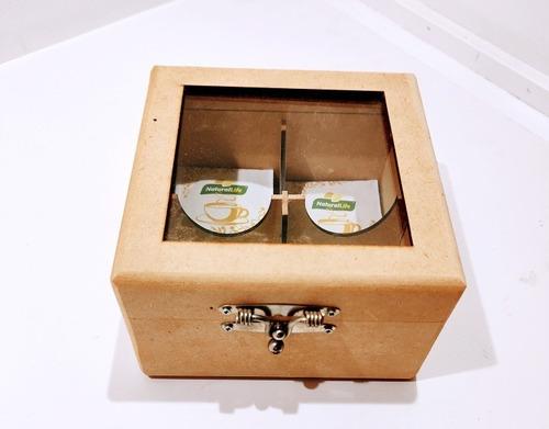 Imagem 1 de 6 de Caixa Porta Chá Com Dobradiça E Fecho Em Mdf 6mm