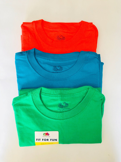 3 Playeras De Diferentes Colores Marca Fruit Of The Loom