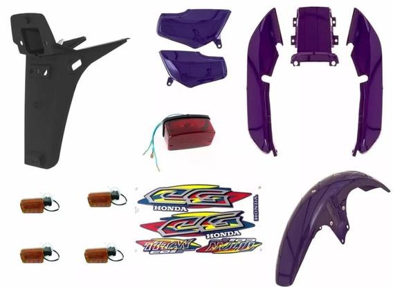 Kit Plásticos Carenagem Titan 99 Azul Roxo + Painel Completo