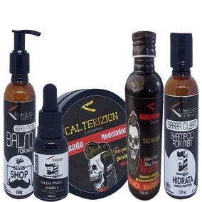 Kit Para Barbudo Tonico +oleo + Balm +shampoo Pomada Transpa