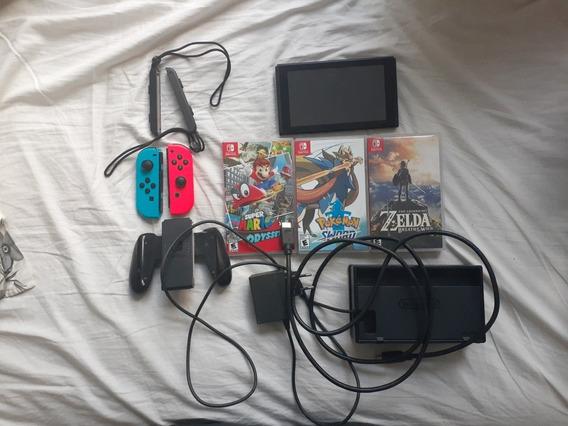 Nintendo Switch+adaptador Dualshock+5 Jogos-joycom Quebrado