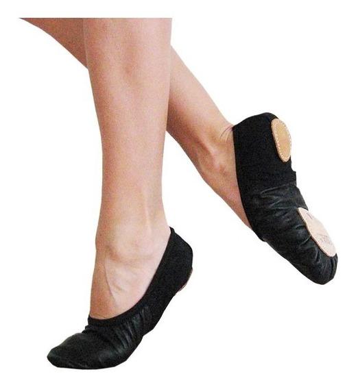 Zapatillas Danza Media Punta Badana Cuero Elastizada