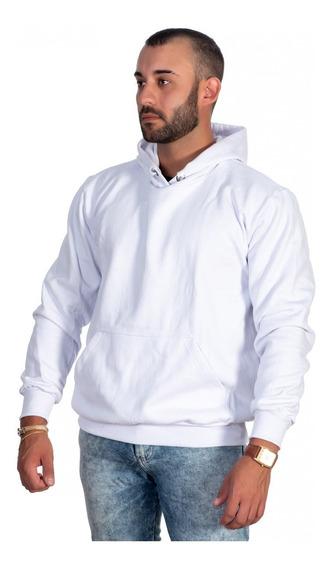 Camisa Moletom Masculino Liso Branco Com Capuz Lançamento