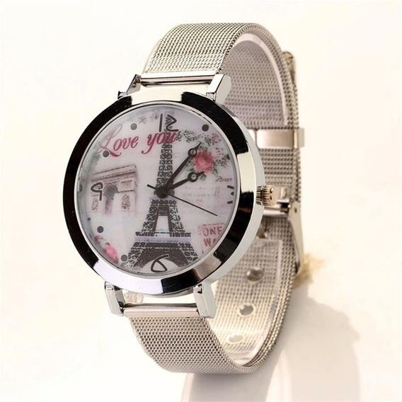Relógio Feminino Luxo Prata Torre De Paris Aço Barato
