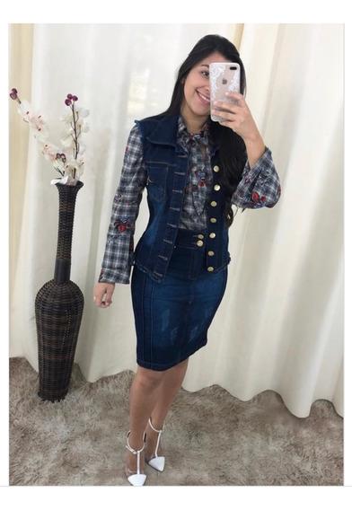 Conjunto Jeans Colete E Saia Destroid Midi Moda Evangelica