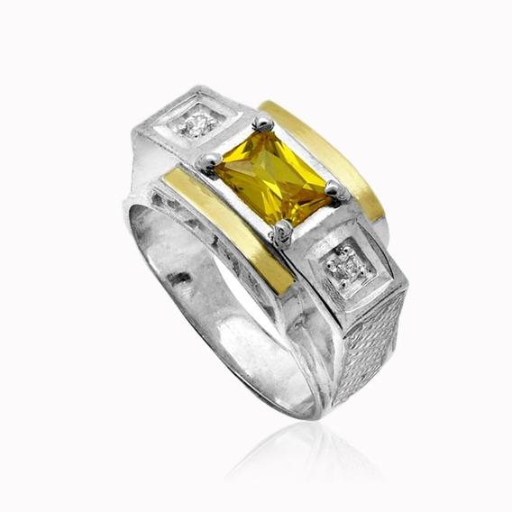 Anel Prata 950 Masculino 2 Filetes Ouro 12k Pedras Zircônias