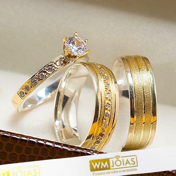 Aliança De Casamento Ouro E Prata + Anel Solitário Wm10207