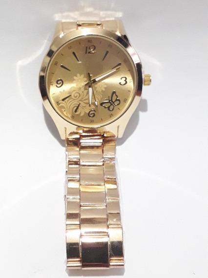 Relógio Pulso Feminino Dourado Pulseira Metal Strass
