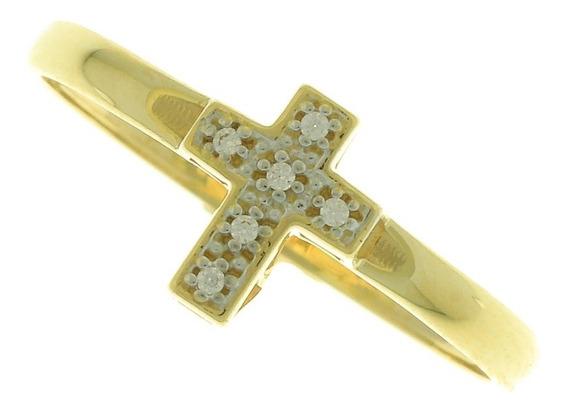Anel Em Ouro 18k Crucifixo Com Zircônia Na909463
