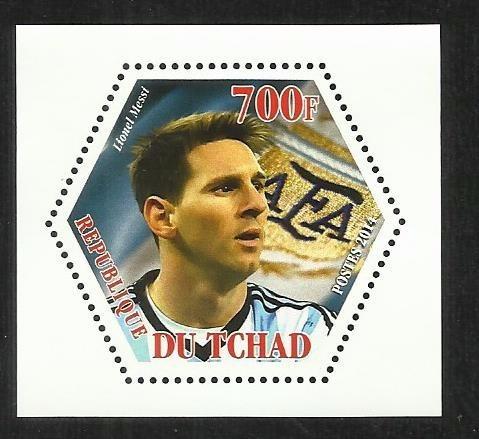 Tchad 2014 Bloque Estampilla Futbol- Lio Messi
