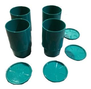 Juego 4 Vasos Con Base/tapa Azul Turquesa