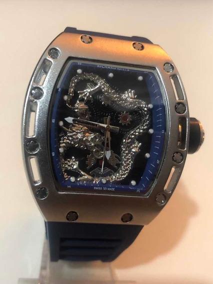 Relógios Pulso Masculino Dragon Azul Esportivo
