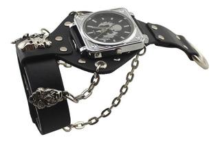 Reloj Pulsera Hombre Retro Cuero Cráneo Ideal Motoqueros
