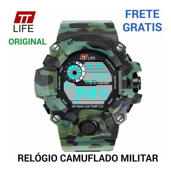 Relógio Digital Camuflado Verde Militar Exercito Polícia