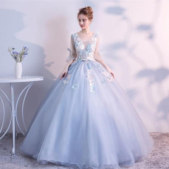 Vestido Quinceañera Rosa Y Azul Flores Bordado Manga Xv Añ